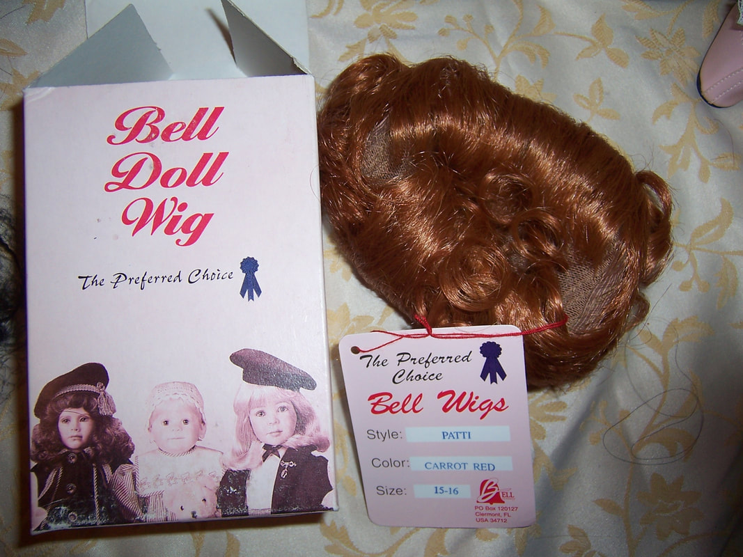 VINTAGE Brown DOLL WIG sz 15  curly bangs /& long wavy style TALLINAS in package